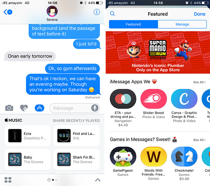 iOS 10 Messages Stickers and Apps
